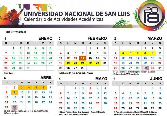 Calendario de Actividades Académicas 2018