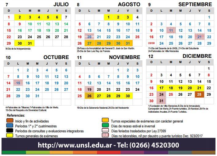 Calendario Turnos.Calendario De Actividades Academicas 2018 Noticias Unsl