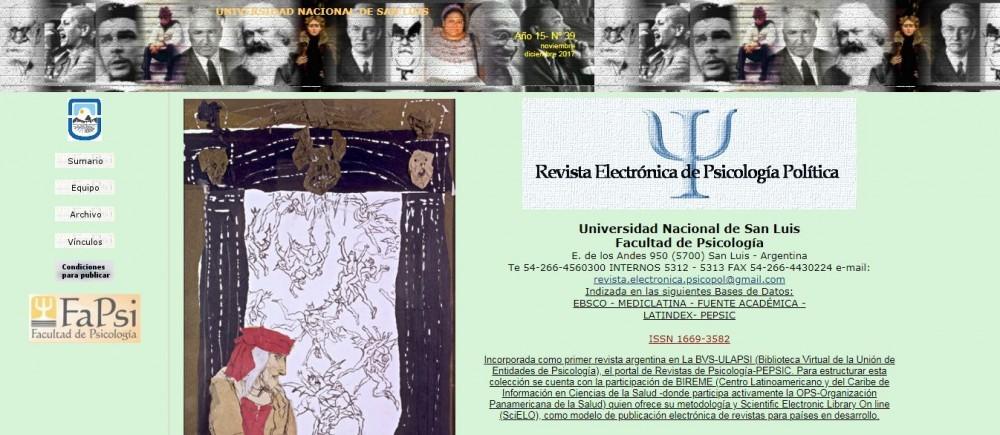 La revista electrónica de Psicología Política publicó un nuevo número