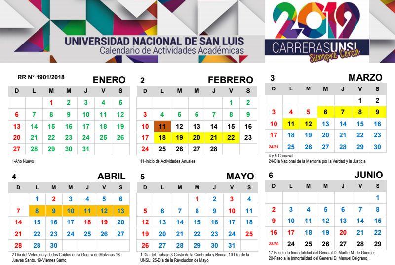 La UNSL publicó su Calendario Académico 2019