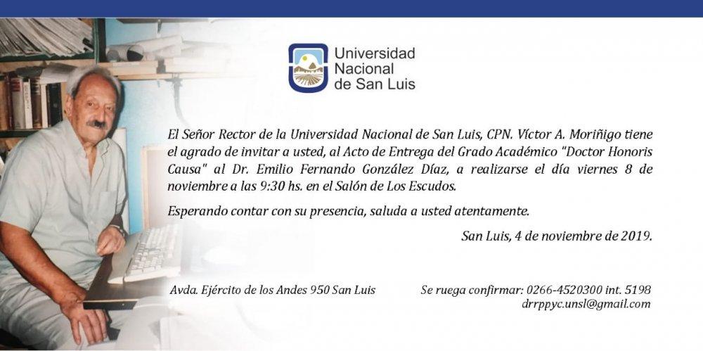 El Dr. Emilio González Díaz recibirá el título Doctor Honoris Causa