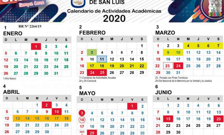 La UNSL publicó su Calendario Académico 2020
