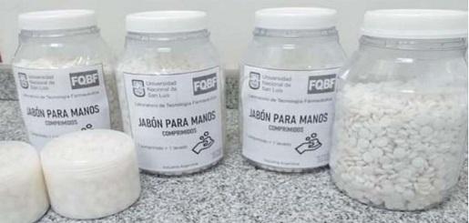 La UNSL registró la marca y formulación de las pastillas de jabón individual