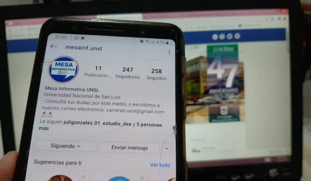 Mesa Informativa de la UNSL en Instagram