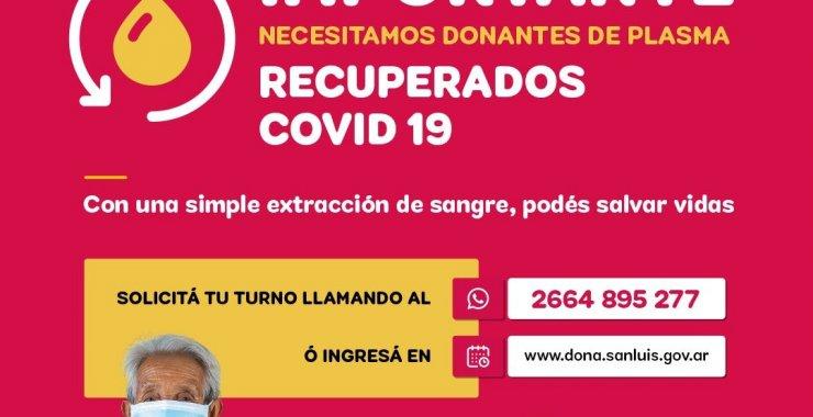 La UNSL se suma a la campaña Donación de Plasma de pacientes recuperados de Covid-19