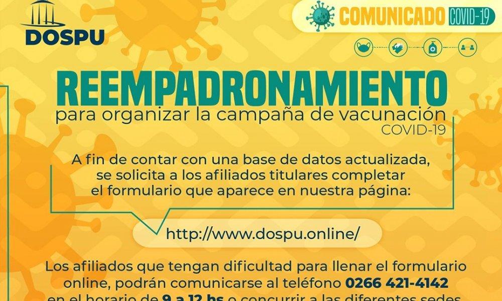 Campaña de vacunación Covid-19: DOSPU inicia un reempadronamiento de afiliados y afiliadas